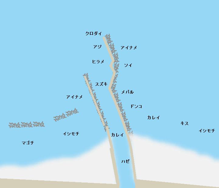 鳥の海導流堤ポイント図