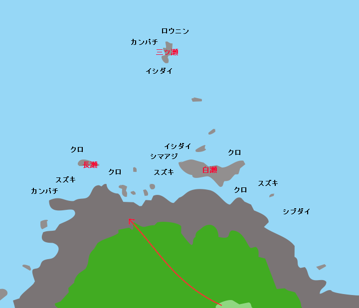 種子島島間崎ポイント図