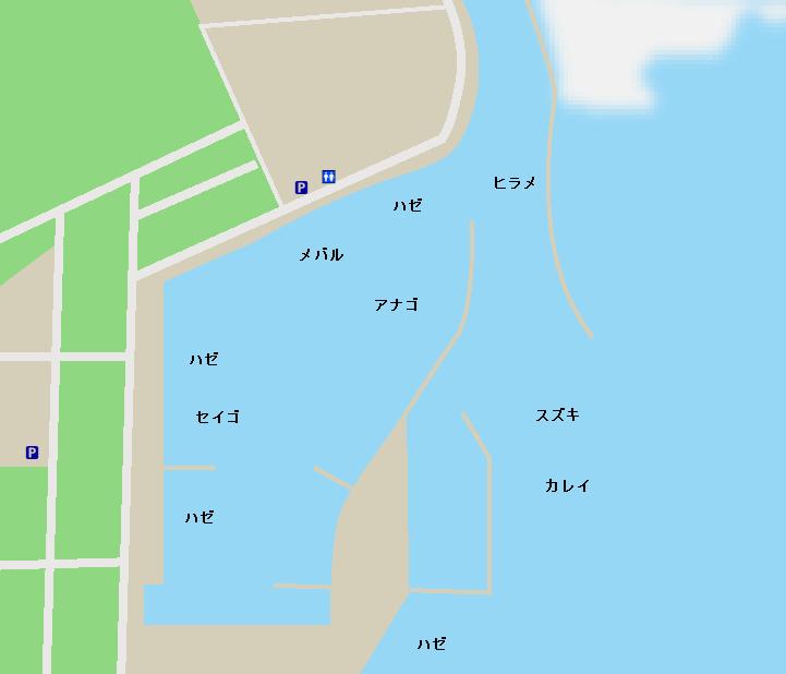 鳥の海荒浜漁港ポイント図