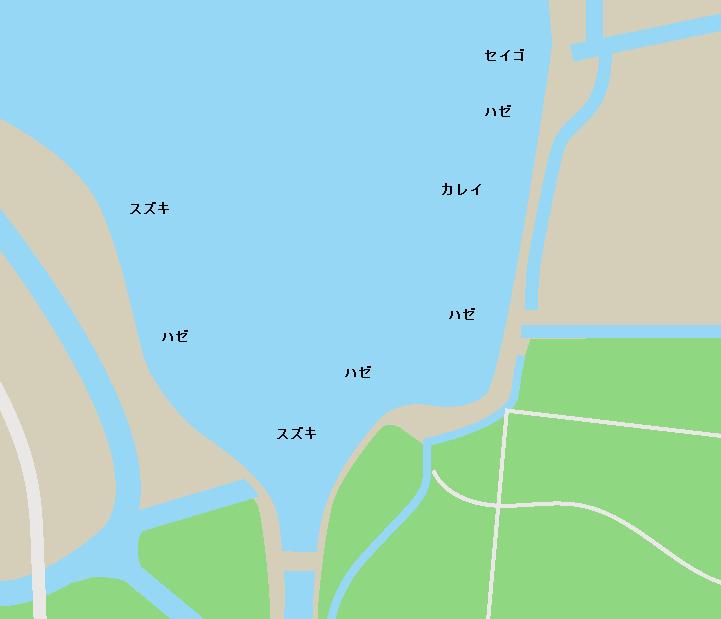 鳥の海鎧川排水路周辺ポイント図