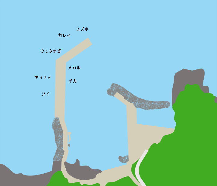 新山漁港ポイント図