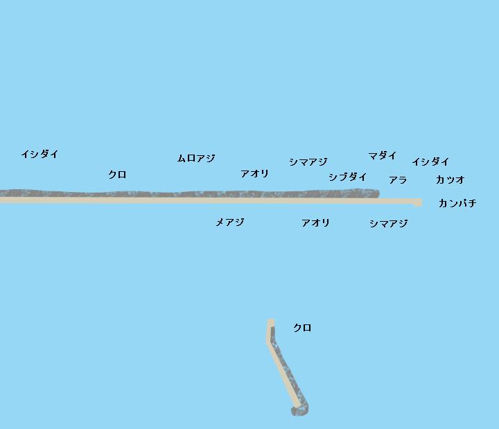 西之表港沖堤(ロケット灯台)ポイント図