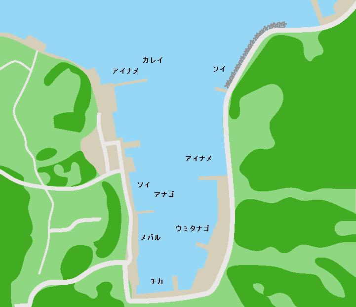 気仙沼大島浦の浜漁港ポイント図