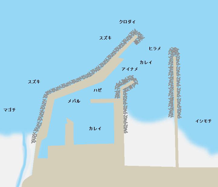 富岡漁港ポイント図