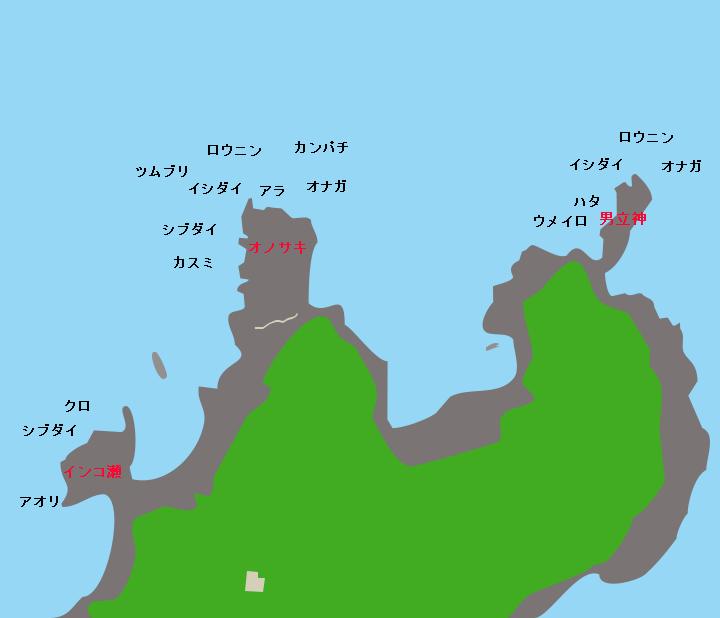口永良部島野崎灯台下ポイント図