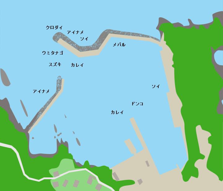 網地島長渡港ポイント図