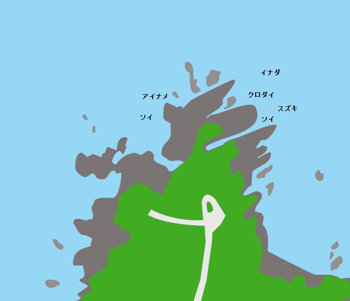網地島涛波岐崎ポイント図