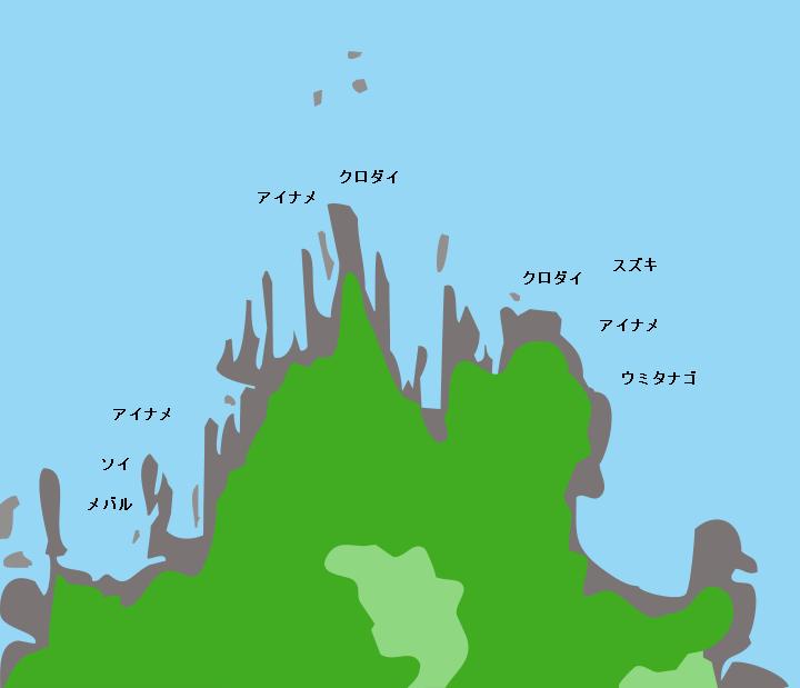 田代島三石崎ポイント図