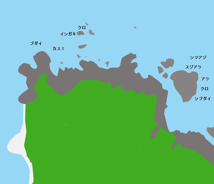 加計呂麻島安脚場ポイント図