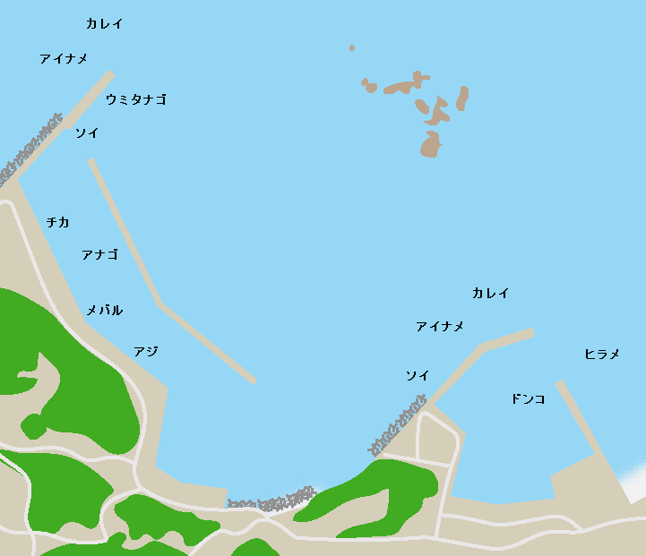 泊浜漁港ポイント図