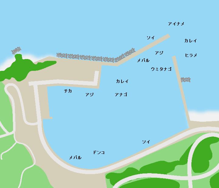 袖浜漁港ポイント図