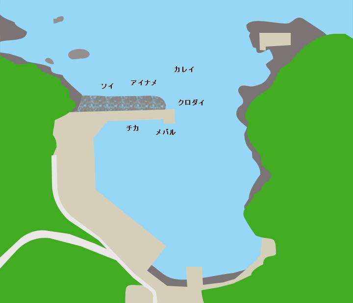 羽坂漁港ポイント図