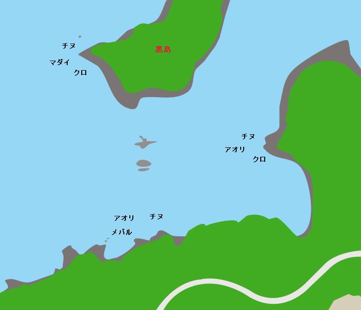 諸浦島黒島対岸ポイント図