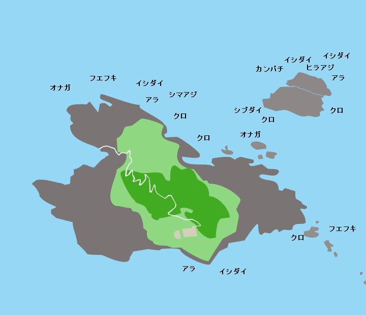 草垣群島上ノ島ポイント図