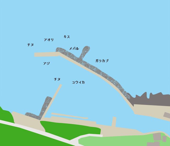 七つ割漁港ポイント図