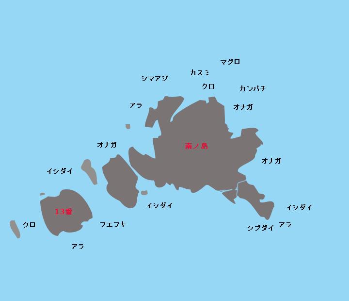 草垣群島南ノ島ポイント図
