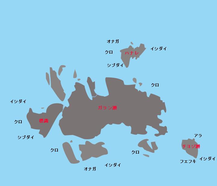 宇治群島ガラン瀬・チヨジ瀬ポイント図