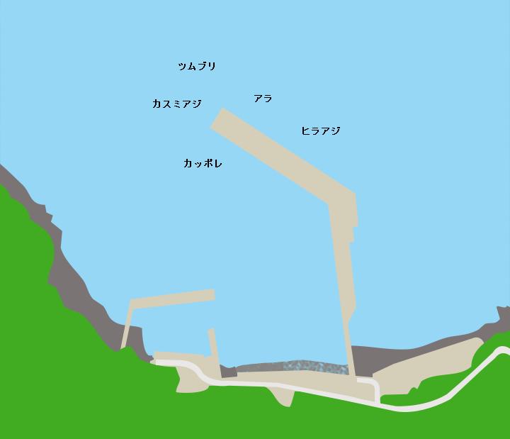 諏訪之瀬島切石港ポイント図