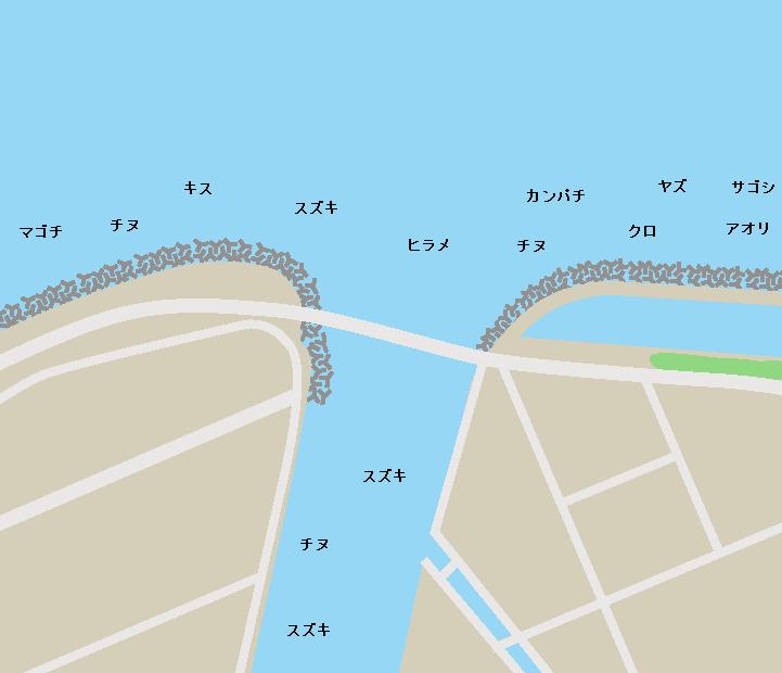 甲突川河口ポイント図