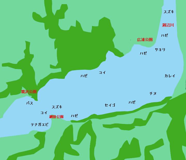 涸沼ポイント図(涸沼川河口,網掛公園,親沢公園,宮前公園,広浦公園など)