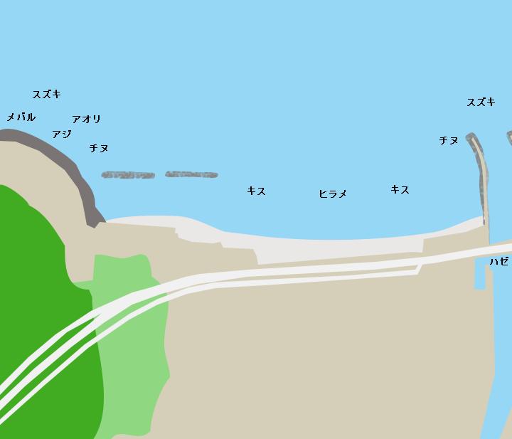 綾羅木海岸ポイント図