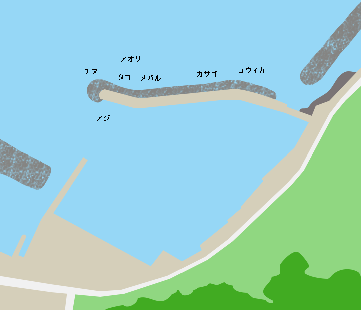 周防大島地家室港ポイント図