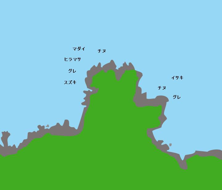 蓋井島角ヶ崎ポイント図