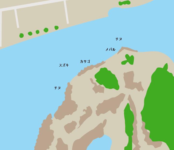 犬島犬ノ島対岸ポイント図