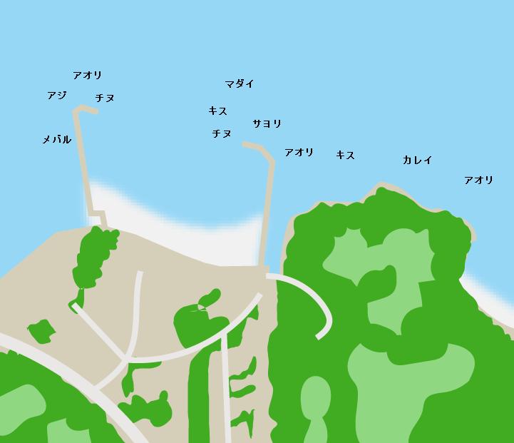 的場海水浴場ポイント図