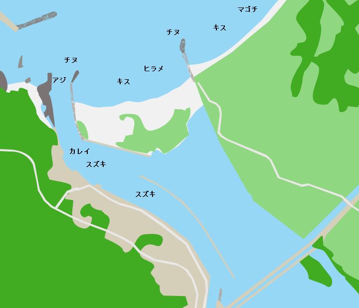 橋本川河口ポイント図