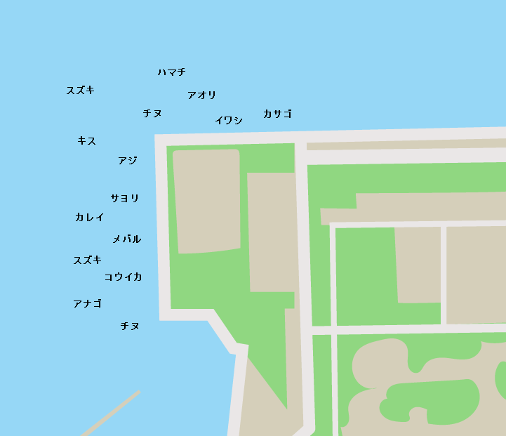 東栄地区港湾緑地ポイント図