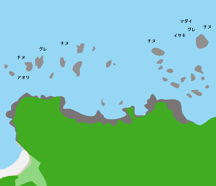 青海島十六羅漢ポイント図