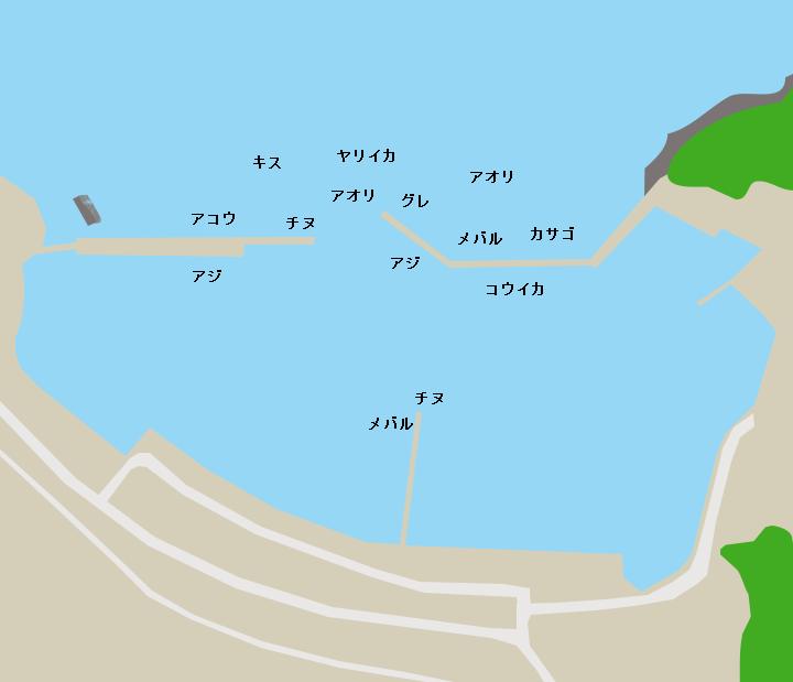 越ヶ浜漁港ポイント図