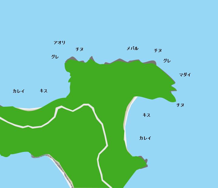 伯方島金ヶ崎ポイント図