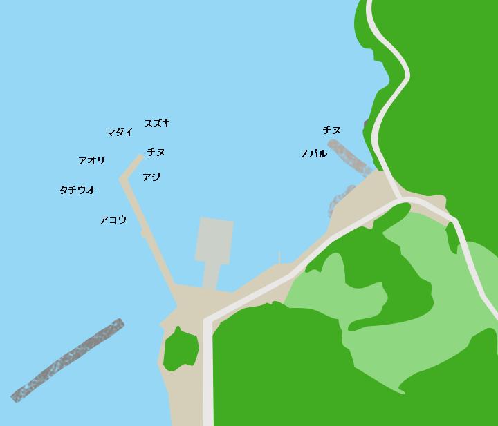 伯方島熊口港ポイント図