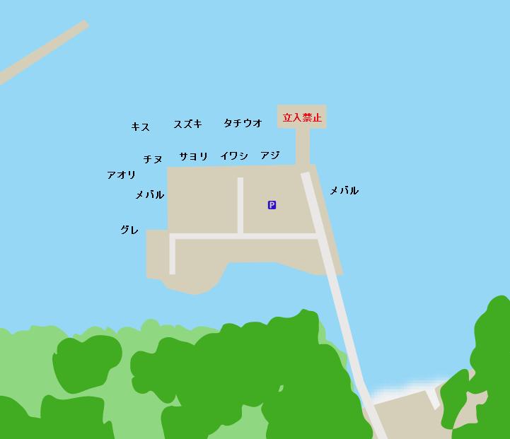 上蒲刈島県民の浜護岸ポイント図