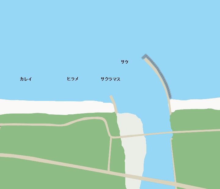長万部川河口ポイント図