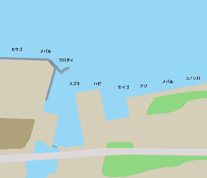 富洲原漁港ポイント図